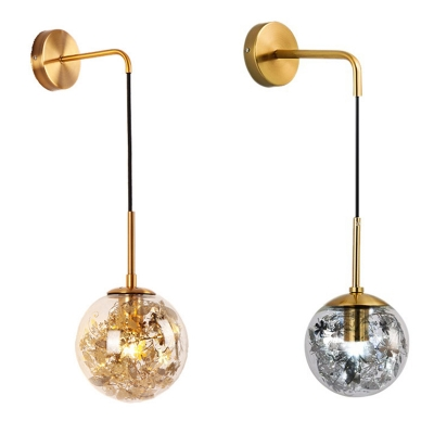 Glass Spherical Wall Light with Leaf Decoration Study Room 1 Light Modern Wall Sconce in Gold/Silver