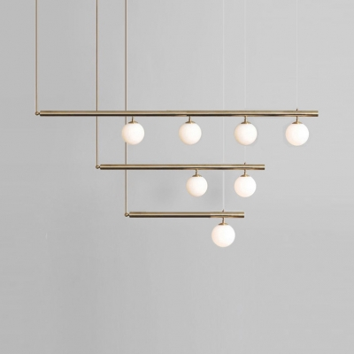 Linear White Glass Chandelier Designers Lighting Metal LED Modo Globe Shade Island Lighting for Island