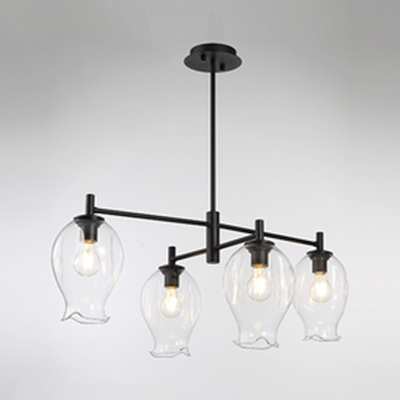 Simple Style Bud Chandelier Clear Glass 4 Lights Black/Gold Pendant Light for Study Room Bedroom