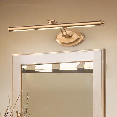 Antifogging Brass LED Wall Sconce Tube Shape Metal Rotatable Vanity Light in Neutral for Hotel