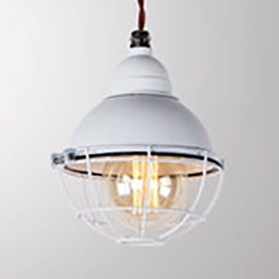 Black/White/Yellow Dome Hanging Lamp with Cage 1 Light Industrial Metal Pendant Light for Shop