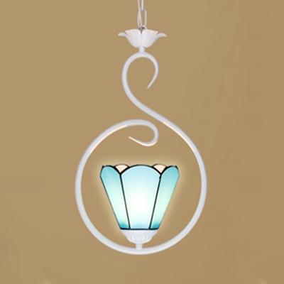 Dark Blue/Sky Blue/White Pendant Light with Ring Modern Style Glass Ceiling Lamp for Living Room