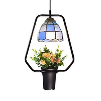 Bowl Shade Pendant Light with Flower Pot 1 Light Tiffany Rustic Stained Glass Ceiling Light for Balcony