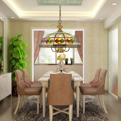 Brass Umbrella Pendant Light 4/6 Lights Tiffany Style Glass Ceiling Pendant for Restaurant