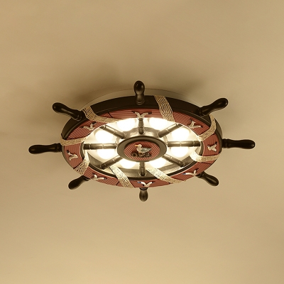newest 45f4d f51e0 Brown Rudder LED Ceiling Lamp Letter/Seagull Nautical Metal Flush