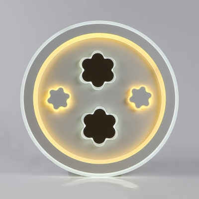 Child Bedroom Heart Round Ceiling Fixture Acrylic Cute White Step Dimming LED Flush Mount Light