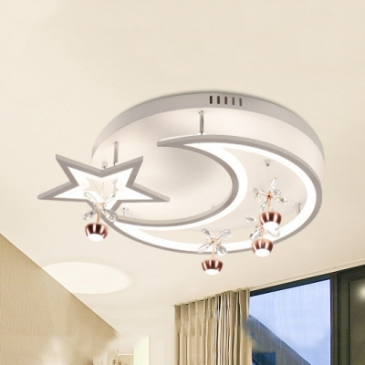 Crescent Star LED Semi Ceiling Mount Light with Crystal Metal Creative Flush Light in Warm White/White for Kindergarten