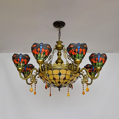 Dining Room Dragonfly Chandelier Stained Glass 9 Lights Rustic Style Hanging Lamp with Crystal
