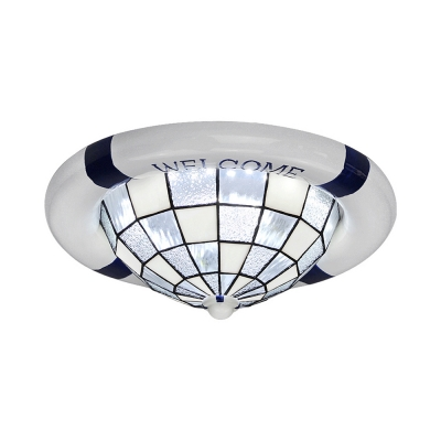 Dome Adult Kid Bedroom Ceiling Mount Light Glass Third Gear Dimmable LED Light Fixture in White