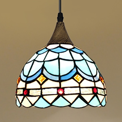 Domed Shade Pendant Light 8 Inch Tiffany Style Glass Hanging Lamp for Stair Dining Room