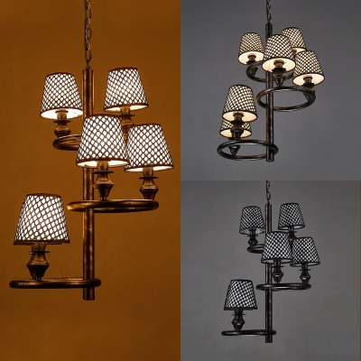 Fabric Tapered Shade Chandelier 6 Lights Traditional Lattice Pendant Lamp for Restaurant Bar