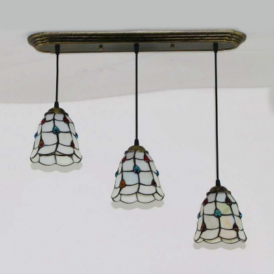 Glass Bell/Domed Shade Hanging Light 3 Heads Tiffany Style Pendant Light in Aged Brass for Hallway