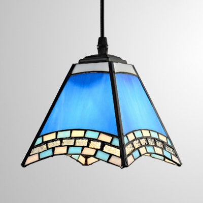 Glass Craftsman Pendant Light Tiffany Nautical Style Suspension Light in Blue for Dining Room HL533069 фото
