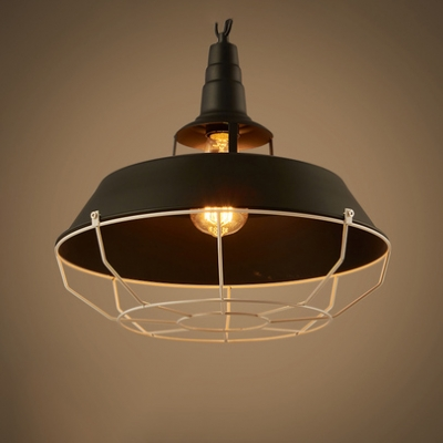 One Head Barn Pendant Light with Cage Industrial Metal Pendant Lamp in Black for Warehouse HL536833 фото