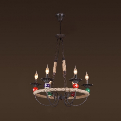 Colonial Style Candle Chandelier Rope 3 Lights Bronze Pendant Light with Billiard for Hallway