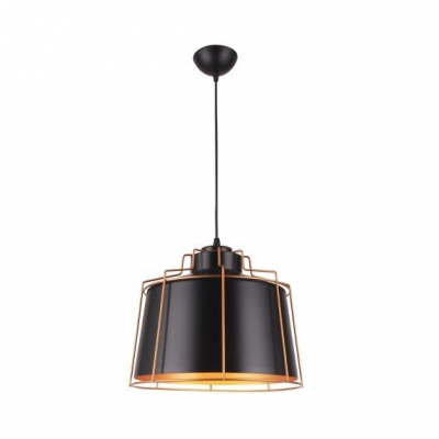 Drum Dining Room Hanging Light Metal One Light Antique Style Pendant Light in Black
