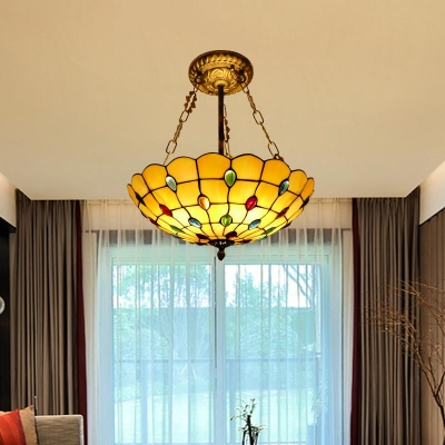Hotel Restaurant Dome Hanging Lamp Glass Tiffany Style Antique Beige Chandelier