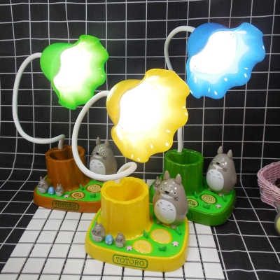 Kid Bedroom Third Gear Desk Light Touch Control Blue/Green/Yellow Flower LED Reading Light with Pen Holder