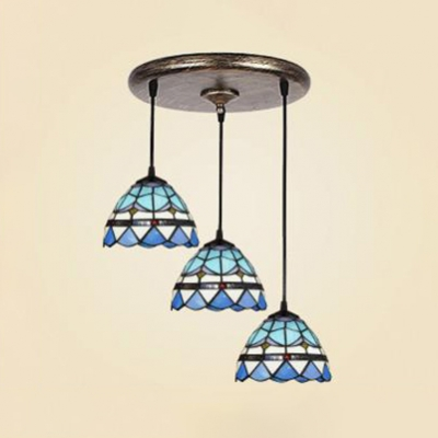 Mediterranean Style Blue Pendant Light Grid Bowl Shade 3 Lights Stained Glass Pendant Lamp for Hallway