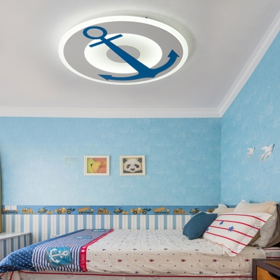 Metal Anchor LED Ceiling Mount Light Nautical Style Blue Flush Light in Warm/White/Third Gear for Boys Bedroom