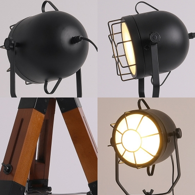 Metal Camera Shape Reading Light Restaurant 1 Head Industrial Rotatable Table Lamp with Cage in Black