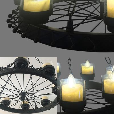 Metal Candle Chandelier with Wheel Cafe 8 Lights Industrial Suspension Light in Matte Black
