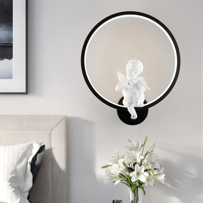 Metal Ring Sconce Light European Style Angel Decoration Wall Light in White/Warm/Third Gear for Kid Bedroom