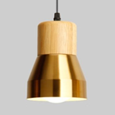 Metal & Wood Pendant Light 1 Light Modern Style Hanging Light in Brass/Copper for Living Room