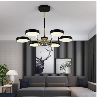 Modern Round Chandelier 6 Lights Acrylic Warm Lighting Pendant Light In Black White Green For Bedroom Beautifulhalo Com