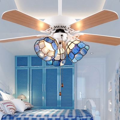 Nautical Stylish Blue LED Ceiling Fan with Pull Chain 3 Lights Metal Ceiling Fixture for Bedroom