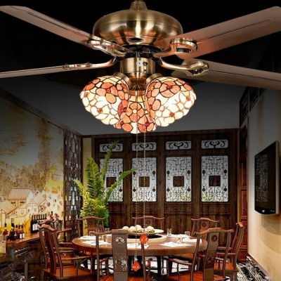 Restaurant Floral Semi Flush Mount Light Metal 3 Heads Pull Chain/Remote Control/Wall Control Rustic Ceiling Fan