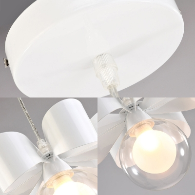 Simple Style Orb Pendant Light with Bow Metal 3 Lights White Hanging Light for Child Bedroom