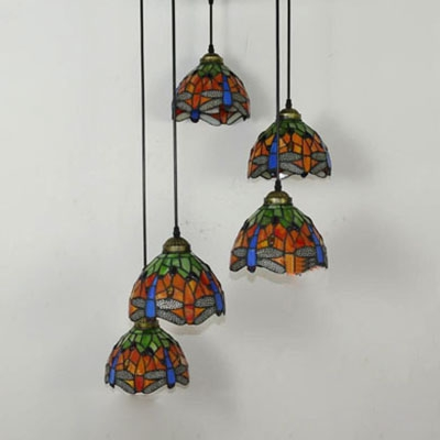 Stained Glass Domed Pendant Light with Dragonfly/Sunflower Villa 5 Lights Rustic Stylish Ceiling Light