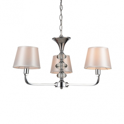 Tapered Shade Study Room Chandelier Metal 3 Lights Simple Style Pendant Lamp in Chrome