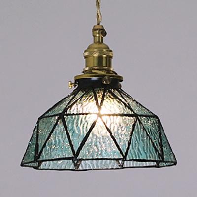 Traditional Bowl Pendant Light Faceted Glass 1 Light Black/Brass Canopy Ceiling Light for Corridor