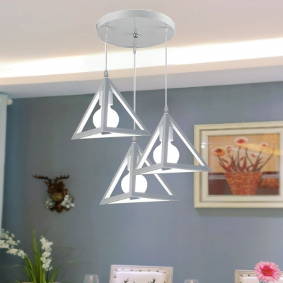 Triangle Dining Room Pendant Light Industrial Metal Hanging Light in