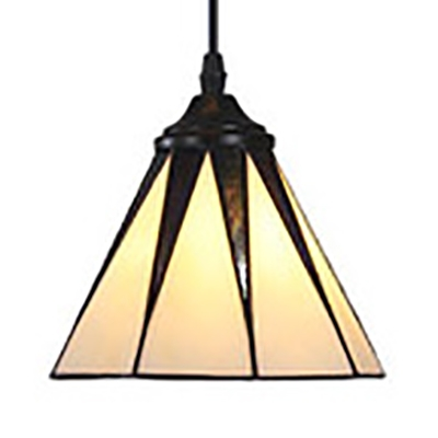 White Cone/Rectangle/Trapezoid Pendant Light 1 Light Rustic Style Glass Ceiling Pendant for Bathroom