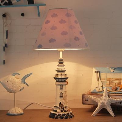 1 Light Lighthouse LED Reading Light Nautical Style Resin Desk Lamp in Blue for Bedroom