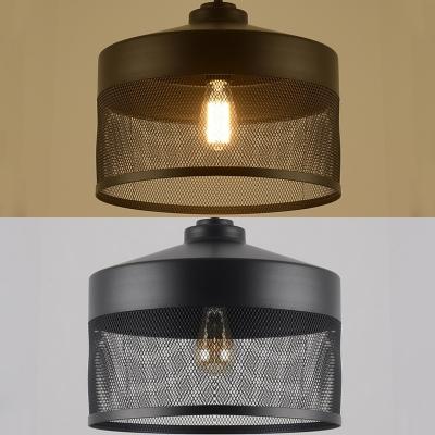 1 Light Metal Mesh Suspension Light Retro Loft Edison Bulb Hanging Lamp in Black for Restaurant
