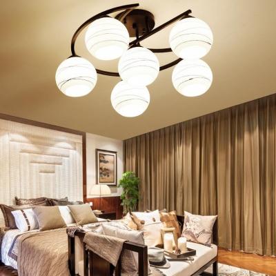 3/6 Lights Globe Semi Flush Ceiling Light Creative Frosted Glass Light Fixture in White for Kitchen