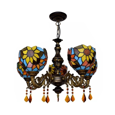 5 Lights Sunflower Chandelier with Crystal Vintage Style Stained Glass Pendant Lamp for Bar
