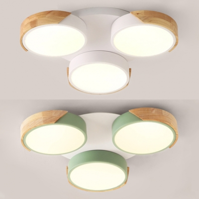 Macaron Loft Green/White Flushmount Light Round 3 Heads Wood Ceiling Fixture in Warm/White for Girl Bedroom