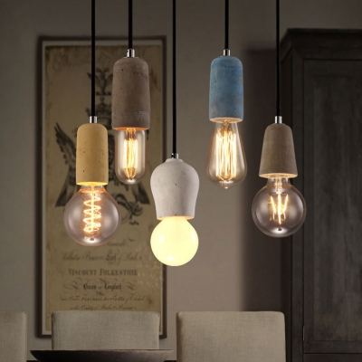 Bare Bulb Suspension Light 1 Head Industrial Style Cement Hanging Light for Bar Living Room
