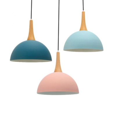 Kitchen Foyer Dome Hanging Light Metal Wood 1 Head Contemporary Macaron Pendant Lamp in Dark Blue/Light Blue/Pink