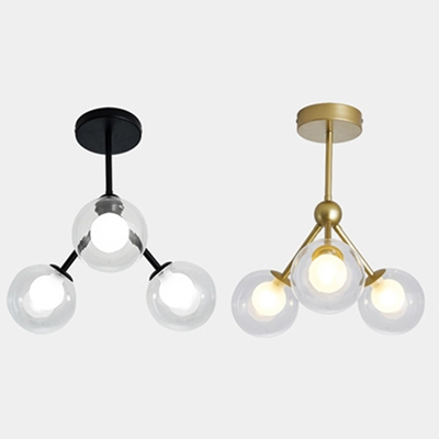 3 Lights LED Flush Mount Lighting Clear Globe Shade in Black/ Gold Finish