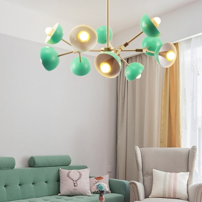 Macaron Green Indoor Bedroom Lighting 10 Light Branch Metal Dome Shade Chandelier