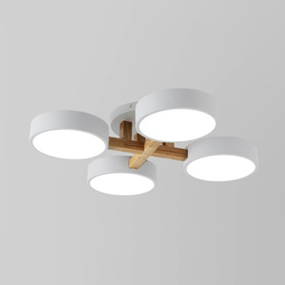 Acrylic Round Semi Flush Light 4 Heads Modern Macaron Colored Ceiling Light in White/Warm for Bedroom