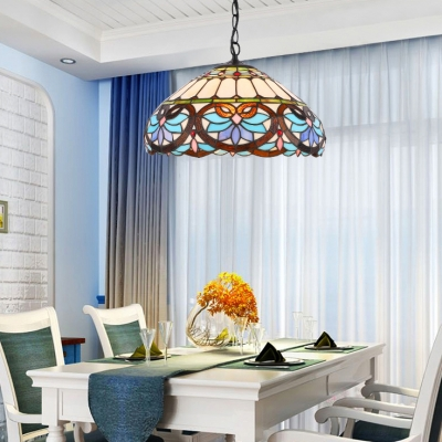 Colorful Dome Shade Hanging Light One Light Tiffany Style Hand Made Glass Suspension Light for Bar