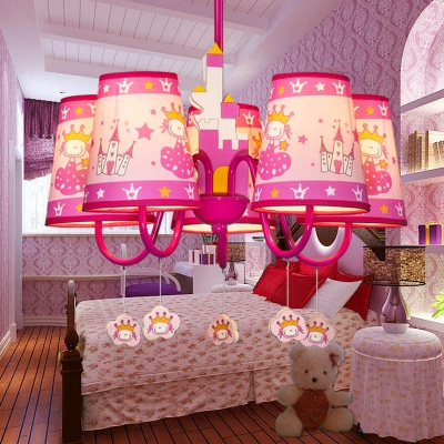 Creative Tapered Shade Chandelier Metal 5 Lights Pink Hanging Lamp with Cartoon for Girl Bedroom