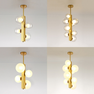 Dining Room Linear Chandelier Clear/Cream Glass 4/8 Lights Simple Style Gold Hanging Light